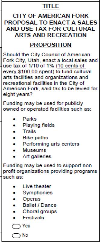 American Fork PARC referendum