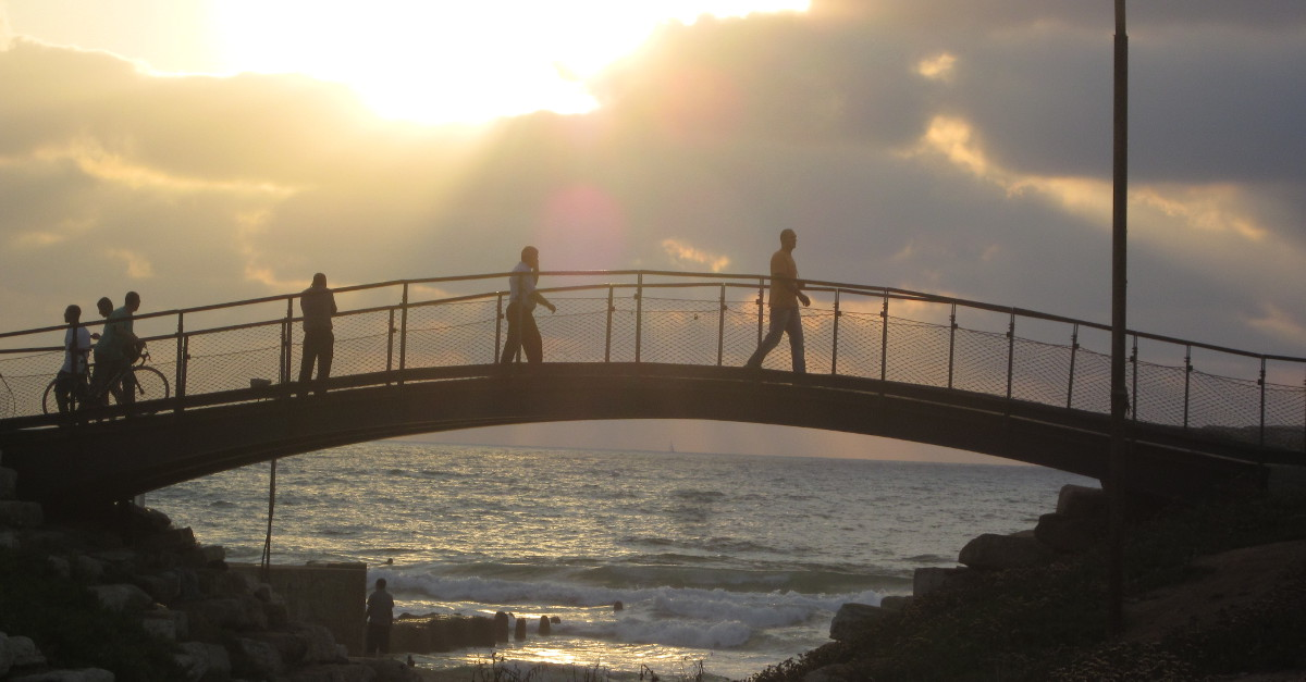 Mediterranean footbridge in old Yaffa