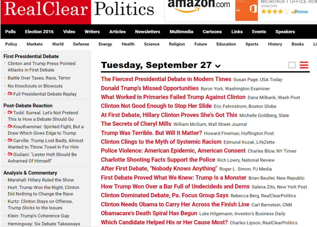 RealClearPolitics screenshot