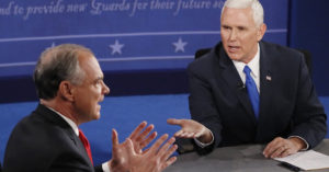 Sen. Tim Kaine (D-Virginia), left, and Gov. Mike Pence (R-Indiana).