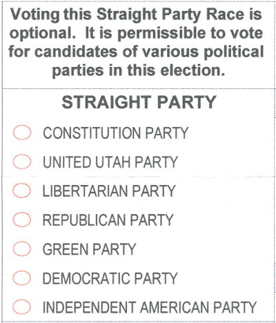 2018 Utah ballot - straight party