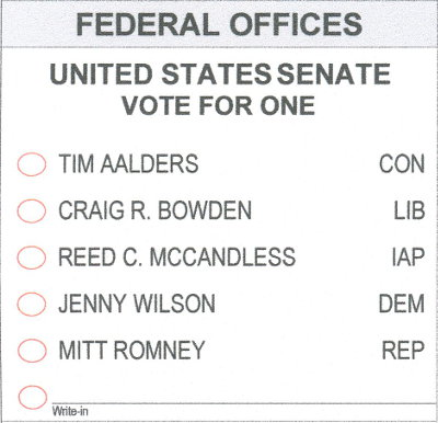 2018 utah ballot - US Senate