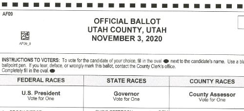 2020 election ballot