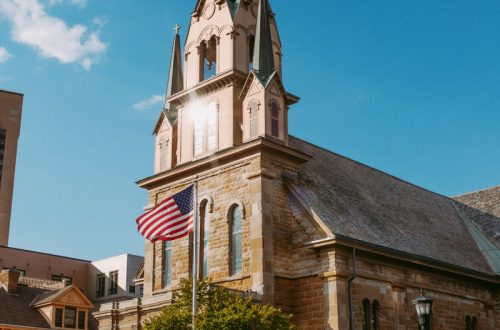Independence Day - church with American Flag