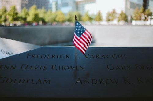 September 11 flag and memorial - remember